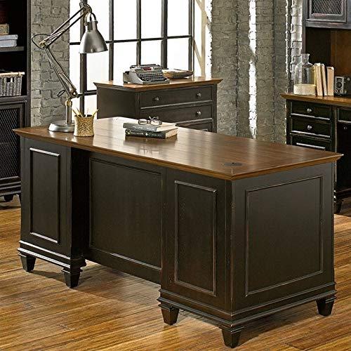 Martin Furniture Hartford Double Pedestal Shaped Desk, Brown - Fully Assembled by Martin Furniture