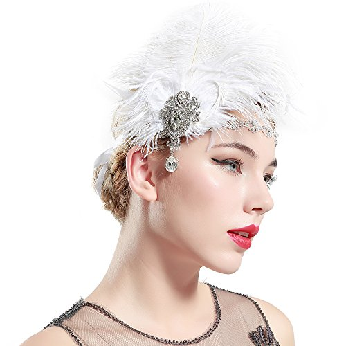Long Jeweled Dangle - BABEYOND Women's Ostrish Feather Crystal Headband Wedding Bridal Feather Headband Flapper Headpiece 1920s