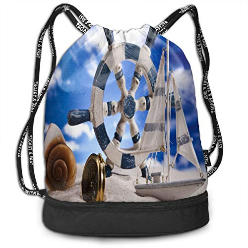 All agree Drawstring Bag Vintage Ship's Wheel Artwork Womens Gym Backpack Unique Mens Travel Canvas Bags for Youth -