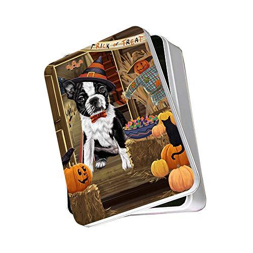 Enter at Own Risk Trick or Treat Halloween Boston Terrier Dog Photo Storage Tin PITN53038
