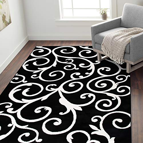 Rugshop Contemporary Scroll Design Ultra Soft Area Rug 5' x 7' Black ()