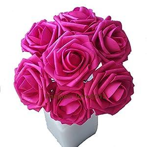 50 pcs Artificial Flowers Foam Roses for Bridal Bouquets Wedding Centerpieces Kissing Balls 9