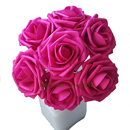 Rina 50 pcs Artificial Flowers Foam Roses Various Colors For Bridal Bouquet Bouquets Wedding Centerpieces Kissing Balls (Hot Pink)