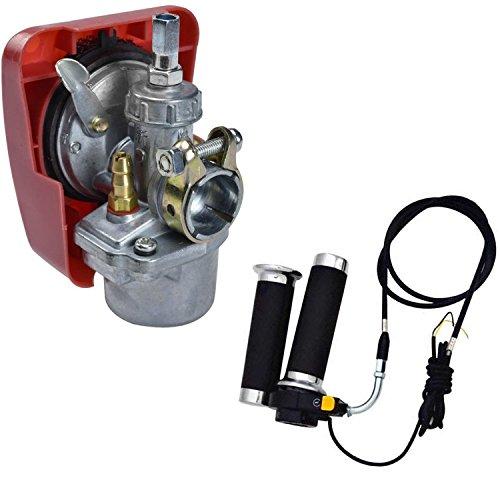 WPHMOTO Carburetor Carb & Throttle Cable & Twist Grip & Kill Switch for 49cc 50cc 60cc 80cc Motorized Bicycle