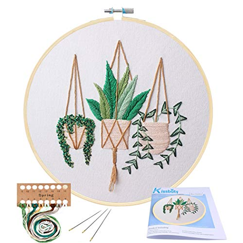 Full Range of Embroidery Starter Kit with Pattern, Kissbuty Cross Stitch Kit Including Embroidery Cloth with Plant Pattern, Bamboo Embroidery Hoop, Color Threads and Tools Kit (Epipremnum Aureum)