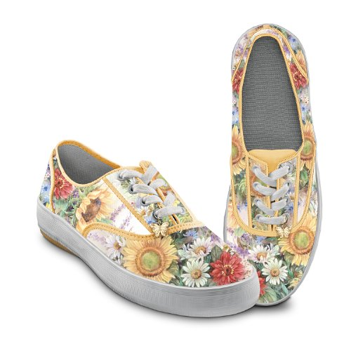 Bradford Exchange Lena Liu Artistically Designed Canvas Sneakers: Sunflower Splendor by The 7.5 M US Women