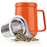 Tealyra - Peak Ceramic Orange Tea Cup Infuser - 16-ounce - Large Tea High-Fired Ceramic Mug with Lid and Stainless Steel Infuser - Tea-For-One Perfect Set for Office and Home Uses - 480 milliliter