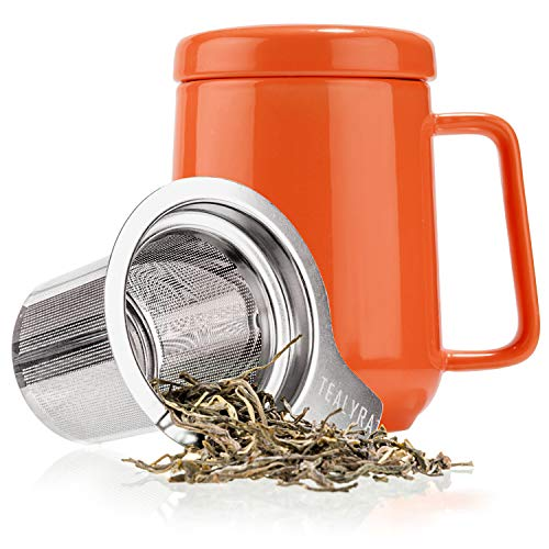 Tealyra - Peak Ceramic Orange Tea Cup Infuser - 19-ounce - Large Tea High-Fired Ceramic Mug with Lid and Stainless Steel Infuser - Tea-For-One Perfect Set for Office and Home - Loose Tea Leaf Brewer