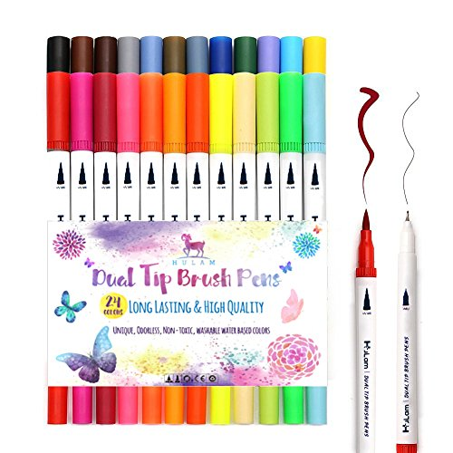 24 Dual Tip Brush Pens Art Markers, HuLam 0.4mm Fineliner I Brush Tip (1mm-2mm) Double Colored Pens Set for Adult, Kids, Children Coloring Books, Bullet Journal, Note Taking, Calligraphy and Manga