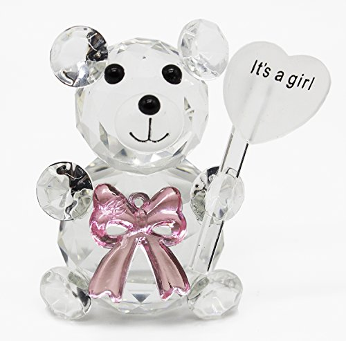 Styles I Love Clear Crystal Glass Teddy Bear Bowknot Figurine Party Decor (It's a Girl-Pink) ()
