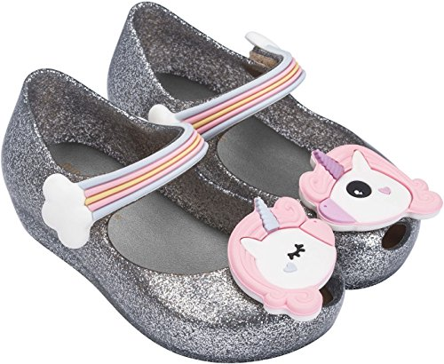 Melissa Girls Mini Ultragirl Unicorn Mary Jane Flat, Silver Glitz, Size 12 M US Little Kid