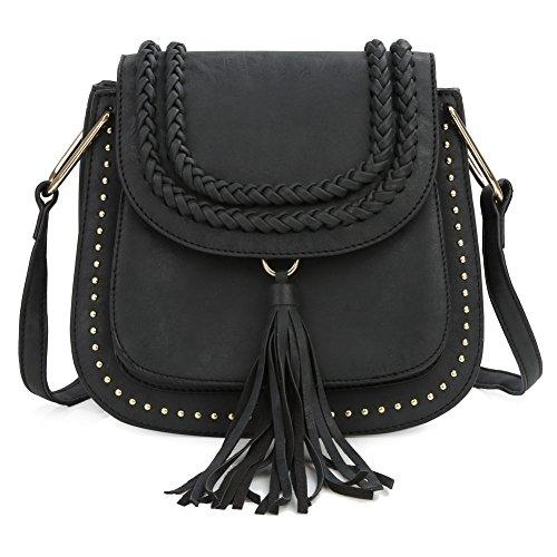 Black Leather Tassel Bag - 6
