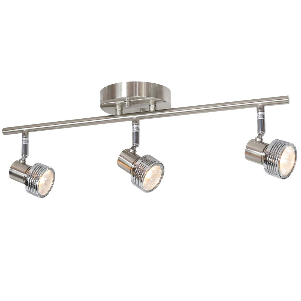 MELUCEE 3 Heads Spotlight Ceiling Fixture Brushed Nickel 50W GU10 Base Bulbs Included, Kitchen Track Lighting Semi Flush Mount Wall Light for Kitchen Island Hallway Gallery