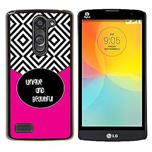 Azulejos Negro Blanco Hermoso texto- Metal de aluminio y de plástico duro Caja del teléfono - Negro - LG L Prime / L Prime Dual Chip D337