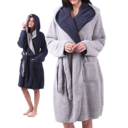 (ALL AOER Hooded Bathrobe for Womens, Wear Reversible Ladies Short Sherpa Robes, Pink Cozy Lightweight)