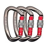 FerDIM 25KN Rock Climbing Carabiner, D-Shaped Hot-Forged Magnalium Locking Climbing Hook Holds 5511lbs with Screwgate Clip Climber Hiking Karabiner Outdoor Sport Tools CE Certified (Gray, 3/Pack)