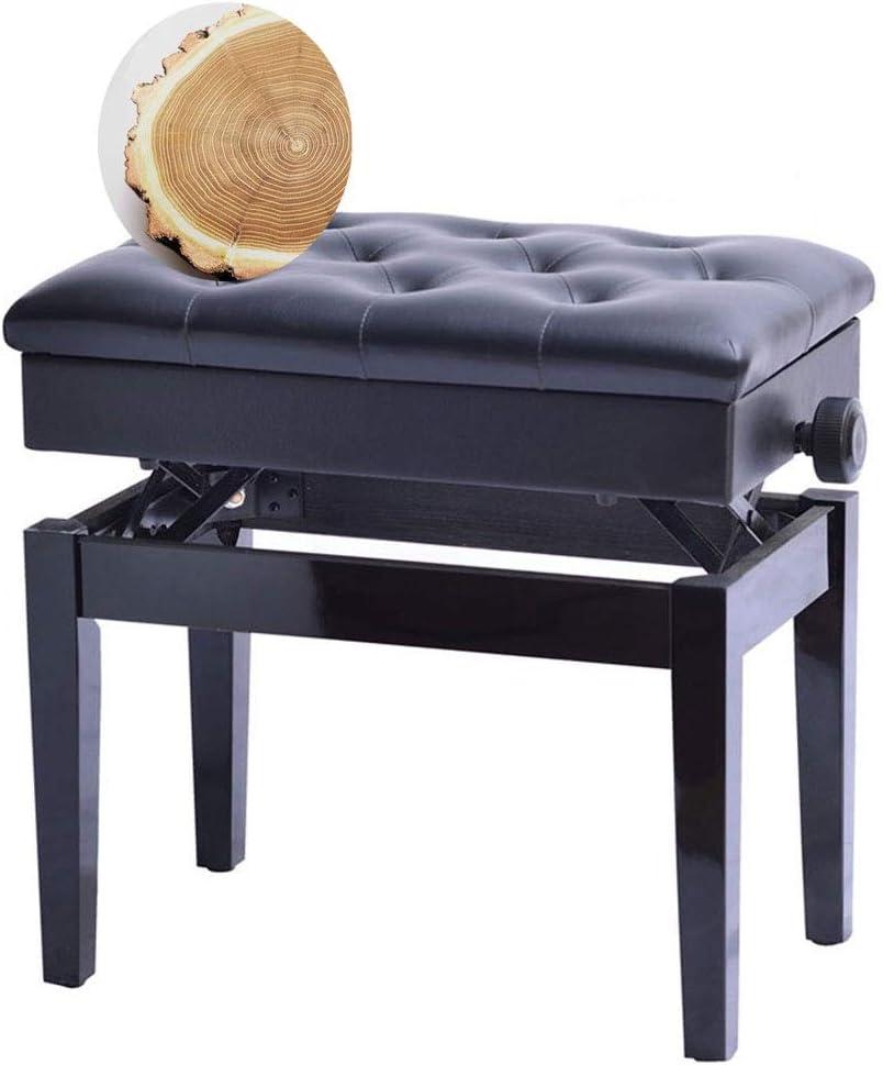 ストレージではピアノベンチ、木枠と脚、PUレザーパッド入りシートで高さ調節可能なキーボードベンチ (Color : BLACK)