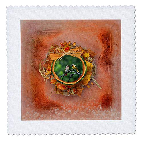 3dRose Beverly Turner Autumn and Photography Design - Baltimore Oriole and Female Redbird, Autumn Round Frame, Bows, Leaves - 20x20 inch Quilt Square ()