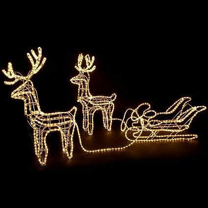 Luci di Natale a forma di renna con slitta a LED, 3 pezzi, luce calda, 1,30 x 28 m [Classe di efficienza energetica A] LEDgend 8220006025