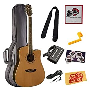washburn wd21sce dreadnought cutaway acoustic electric guitar bundle with gig bag. Black Bedroom Furniture Sets. Home Design Ideas