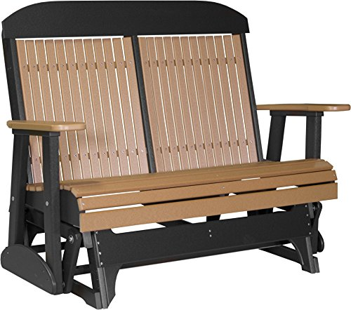 - Furniture Barn USA Outdoor 4' High Back Glider - Cedar and Black Poly Lumber - Recycled Plastic