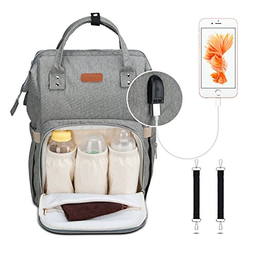 Diaper Bag Backpack, Covvy Large Capacity Diaper Bags for Boys Girls, Travel Gear Baby Bag with Stroller Straps, USB Charging Port & Insulated Pockets, Waterproof Durable Nappy Backpack for Mom – Grey
