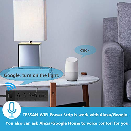 Smart Power Strip Alexa, TESSAN WiFi Multi Outlets with 3 USB Ports & 4 Remote Controlled AC Plugs, Overload Switch Charging Station with 6FT Extension Cord, Work with Echo/Google Home/IFTTT - Black by TESSAN (Image #2)