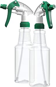 BAR5F Empty Plastic Spray Bottles 16 oz, BPA-Free Food Grade, Crystal Clear PETE1, Green/White M-Series Fully Adjustable Sprayer (Pack of 2)