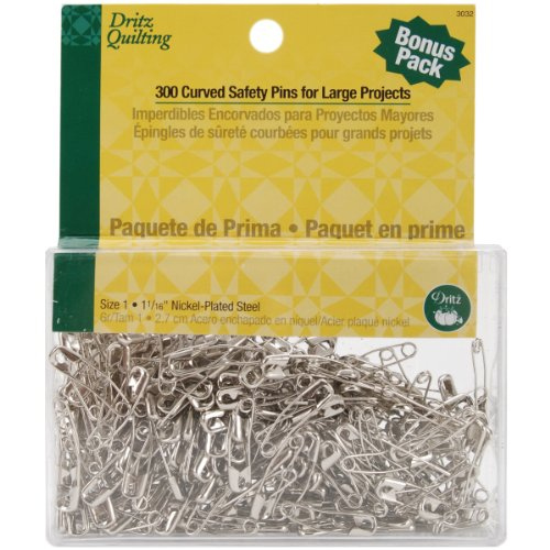 Dritz Quilting 3032 Curved Basting Pins Bonus Pack, Size 1, 300 Count