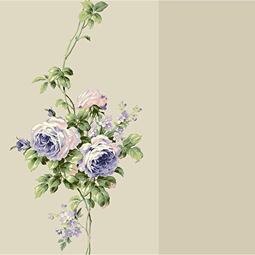 Ecru Pearl - York Wallcoverings Casabella II Rose Stripe Wallpaper Memo Sample, 8 by 10-Inch, Ecru Pearl, Lavender, White, Blush Pink, Beige, Moss, Blue Green, Yellow Green