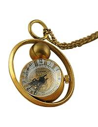 VIGOROSO Men's Retro Hand Winding Ball Glass Copper Pendant Mechanical Pocket Watch