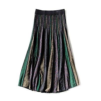 RanRui Women's Elastic Waist Pleated Fall Winter A Line Midi Skirt