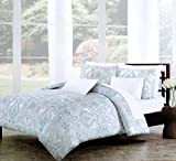 Nicole Miller Home Duvet Cover 3 Piece Set Paisley Moroccan Blue Gray Taupe (King)