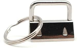 RETON 60 Sets - Key Fob Hardware with Split Ring - 1 Inch, White Nickel