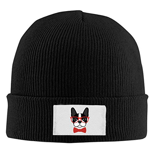 (HUEH HUFW Cute Beanie Hat for Men and Women Boston Terrier with Glasses Warm Knitted Cap)