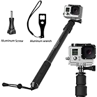 Sinnofoto® C1 (Lion sceptre) Waterproof Selfie Handheld Monopod for Hero 1 2 3 4 Carbon Fiber Monopod with Gopro Tripod Mount & Thumb Screw - Monopod Extends 17.3-41 Black