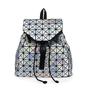Drawstring Backpack Geometric Female Backpacks For Teenage Girls Bagpack Holographic Ladies bao School Bag Sac Luminous