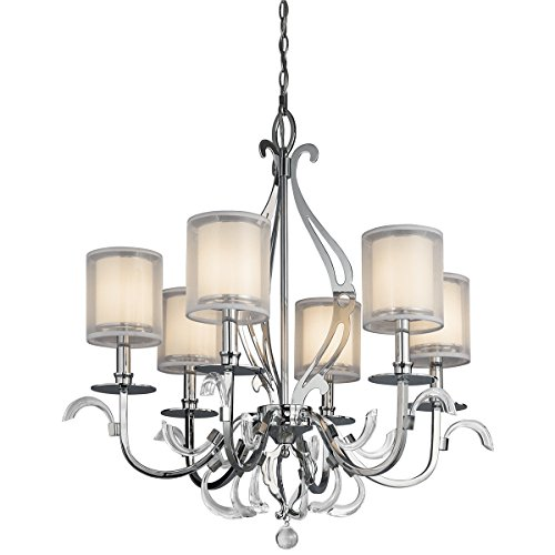 Jardine 6 Light Chandelier - Kichler  42302CH Jardine 6-Light Incandescent Chandelier, Chrome with Metallic Outer Shades and Cased Opal Glass Inner Shade