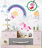 Princess Unicorn Vinyl Wall Decals for Girls - Fairy Nursery stickers for bedroom - Cute DIY Removable Room Décor for girl's bedroom [>25 pink art kids decals] with FREE GIFT!