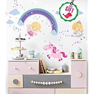 Unicorn Baby Girl Room Décor – Fairy Wall Stickers Childrens for Bedroom, Nursery, Playroom – with Free Gift!