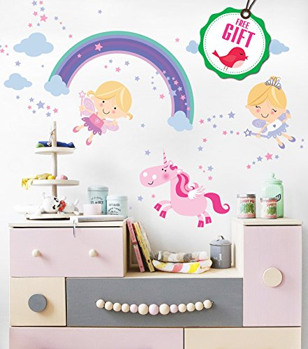 Fairy Nursery (Princess Unicorn Vinyl Wall Decals for Girls - Fairy Nursery stickers for bedroom - Cute DIY Removable Room Décor for girl's bedroom [>25 pink art kids decals] with FREE GIFT!)