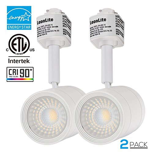 2 PACK 8.5W(50W Equiv.) Integrated CRI90+ LED Track Light Head, Dimmable 38° Spotlight Track Light, 500lm ENERGY STAR ETL-Listed for Accent Task Wall Art Exhibition Retail Lighting, 4000K Cool White by LEONLITE (Image #8)