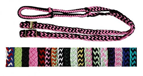 - Showman 7' Braided Knotted Nylon Roping Barrel Racing Contest Reins (Blue/Black)