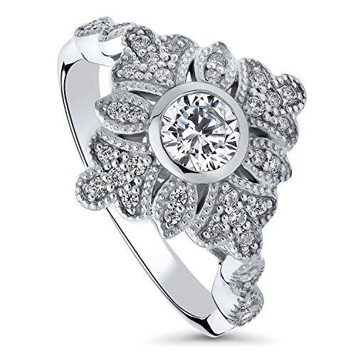 BERRICLE Rhodium Plated Sterling Silver Cubic Zirconia CZ Art Deco Leaf Fashion Ring