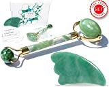 Facial Muscles Headache - Premium Jade Roller & Gua Sha Set Tool | 100% Real Jade stone | Anti Aging Skin Care Tools Therapy | Jade Facial Roller | Depuffing Eyes Bag Chi Roller Treatment | Facial Beauty tool by Akarell