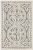 Safavieh Cambridge Collection CAM123D Handcrafted Moroccan Geometric Silver and Ivory Premium Wool Area Rug (2′ x 3′)