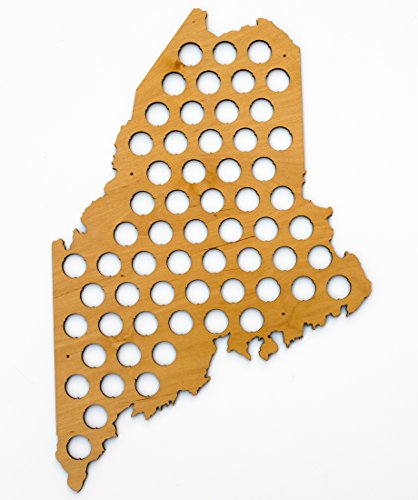 (All 50 States Beer Cap Map - Maine Beer Cap Map ME - Glossy Wood - Skyline Workshop)