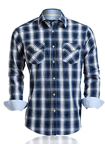 Double Pump Mens Shirts Long Sleeve Casual with Pockets Western Plaid Shirts Regular Fit with Soft Washing Effect (US05LS06,S)