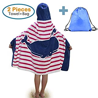 100% Cotton Kids Hooded Beach Bath Towel and Bag Set for Girls Ocean Pink Whale Pattern 4-14 Years