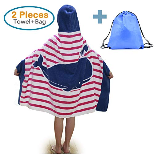 100% Cotton Kids Hooded Beach Bath Towel and Bag Set for Girls Ocean Pink Whale Pattern 4-14 Years by Sunny Bear